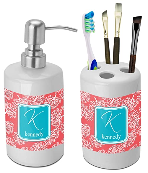 teal bathroom accessories. Coral  Teal Bathroom Accessories Set Ceramic Personalized Amazon com