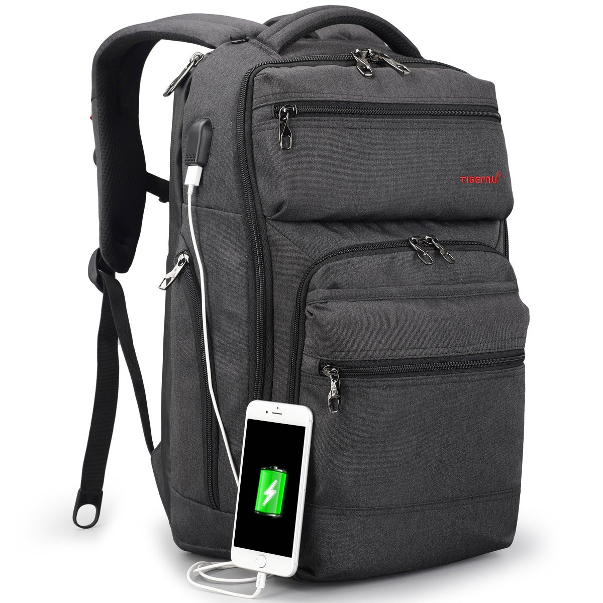TIGERNU Business Backpack fits 15.6 Inch laptop/notebook Computer Backpack with USB Charging Port/ Water Resistant/ Tear Resisting/ Lightweight Travel Bag (Dark Gray)