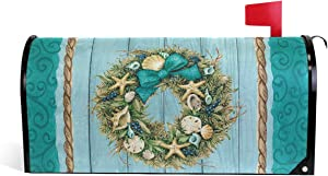 "Coastal Wreath Summer Magnetic Mailbox Cover MailWraps,Starfish Wooden Nautical Mailbox Wraps Post Box Cover Garden Yard Home Decor for Outside Standard Size 21"" Lx 18"" W"