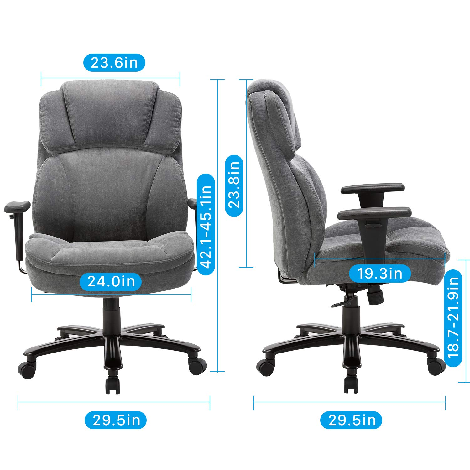 Ergonomic Big & Tall Executive Office Chair with Upholstered Swivel 400lbs High Capacity Adjustable Height Thick Padding Headrest and Armrest for Home ...