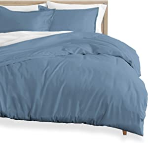 Bare Home Flannel Duvet Cover - Twin/Twin Extra Long - 100% Cotton, Velvety Soft Heavyweight Premium Flannel, Double Brushed - Includes Sham Pillow Covers (Twin/Twin XL, Coronet Blue)