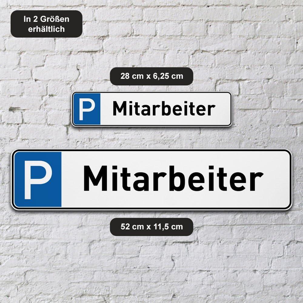 Schild aus 5 mm PVC Kunststoff Gr/ö/ße 280 mm x 62,5 mm printplanet/® Parkplatzschild Mitarbeiter