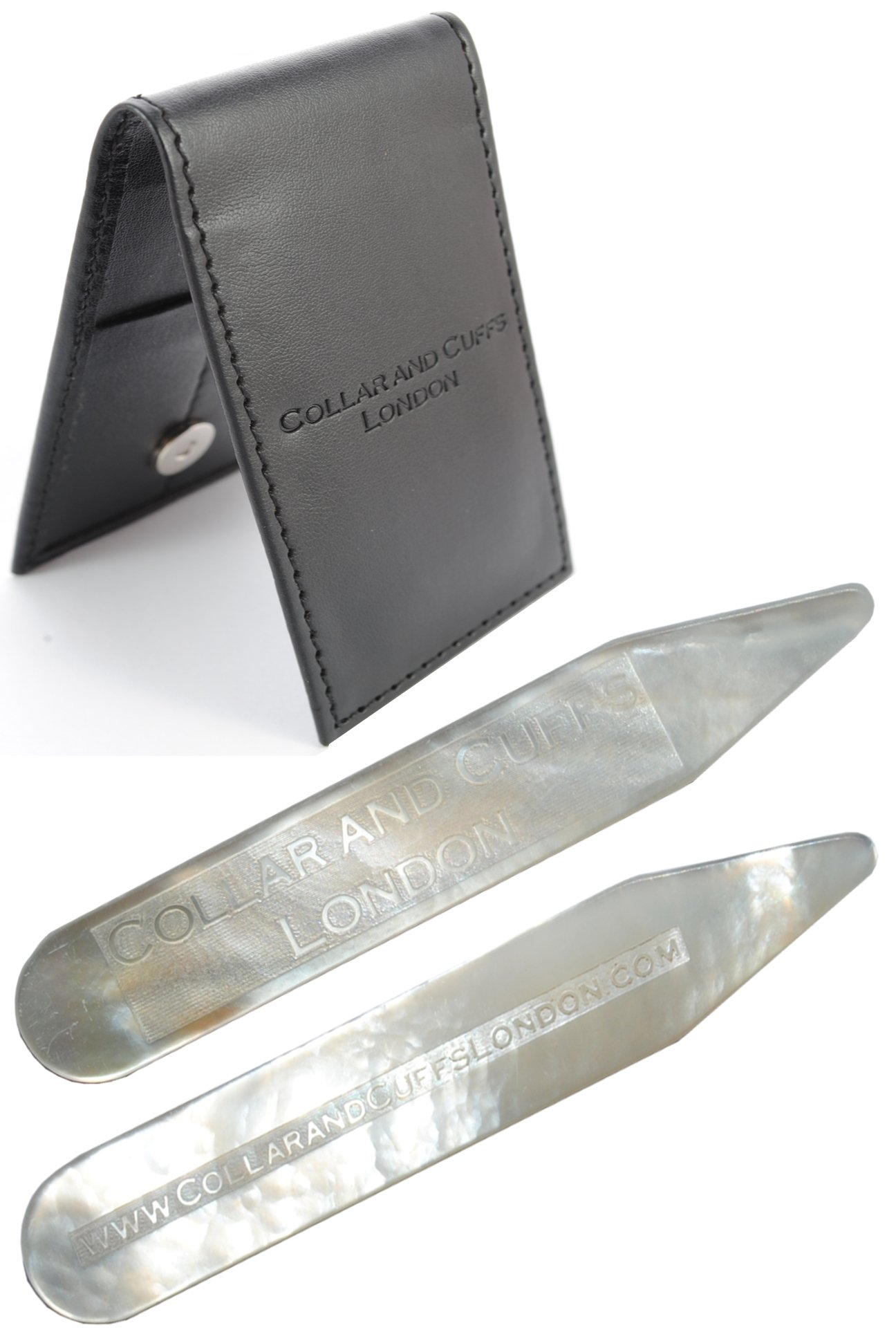 COLLAR AND CUFFS LONDON - MOTHER OF PEARL Collar Stiffeners - With Presentation Gift Wallet - Cultured and Iridescent - White - Shirt Accessories - 63mm - One Pair
