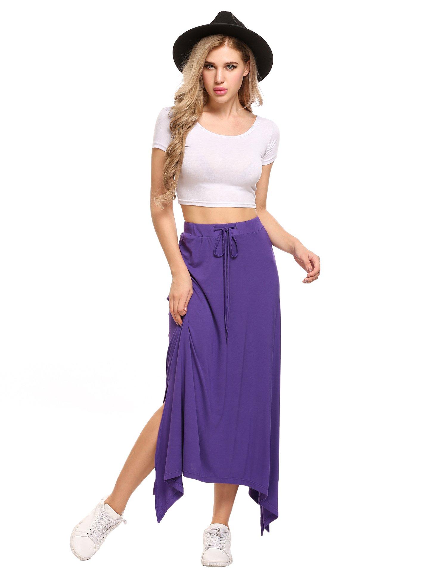 Zeagoo Women's Maxi Skirt   Active Skirt with WAISTBAND   Open Fork Skirt   Lightweight Floor Length  Violet,Small