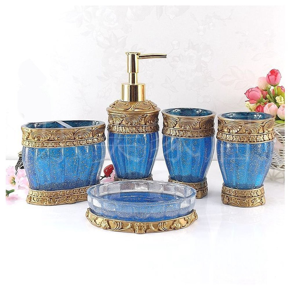 Amazon.com: Vintage Red Bathroom Accessories, 5Piece Bathroom ...