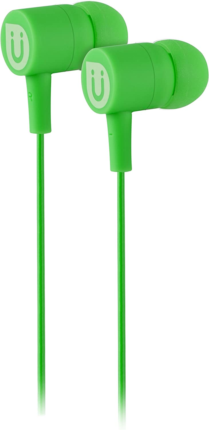 Uber In Ear Wired Earbuds, Comfortable Rubber Headphones, 3.5mm, High Sound Quality, Extra Earbud Tips, for Apple iPhone, iPad, iPod, Android Smartphones, Samsung Galaxy, Tablets & More, Green, 12432