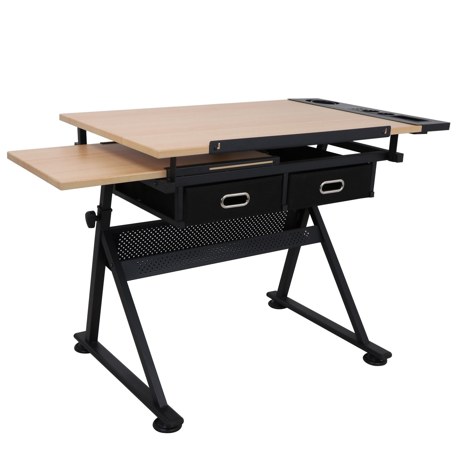 Tilting Tabletop Height Adjustable Drawing Desk with Padded Stool 2 Spacious Drawers Tools Storage Painting Drafting Writing Reading Study Table Draftsman Art Craft Hobby Studio Architect Office Work by HPW (Image #3)
