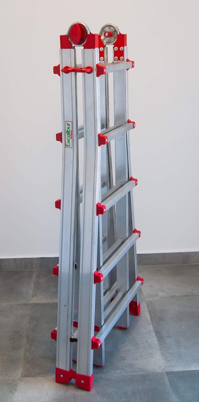FARAONE 1 Escalera Telescópica Multiusos 10 Peldaños, Metálico ...