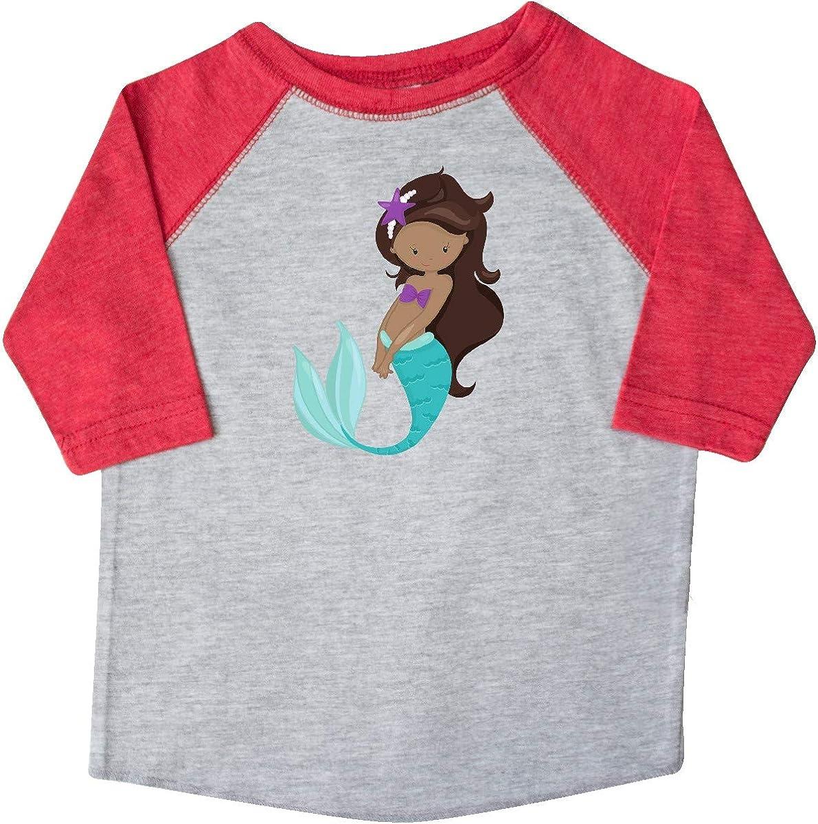 Sea Star Toddler T-Shirt Brown Hair inktastic African American Mermaid
