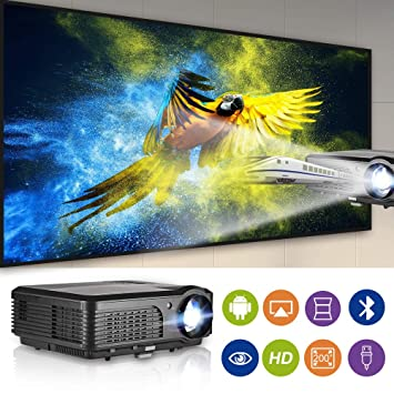 WIKISH WiFi Bluetooth Proyector HD 4200 Lumen LCD Proyector ...