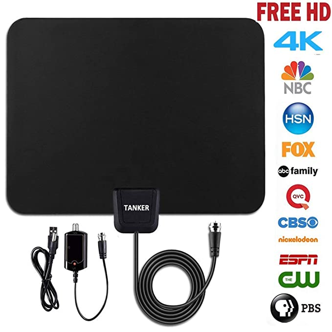 TV Antenna hd,50 Mile Range Amplified Digital Antenna with Amplifier Signal Booster and 10ft