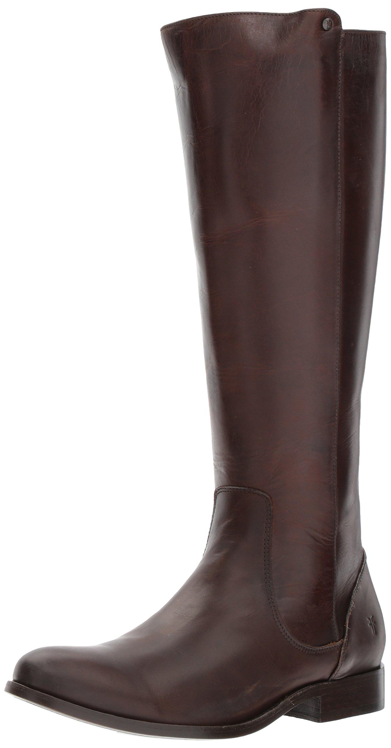 FRYE Women's Melissa Stud Back Zip Riding Boot, Chocolate, 8.5 M US