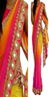 SUNSHINE Pink Color Georgette Padding Fabric Threadwork Saree ( New Arrival Latest Best Choice and Design Beautiful Sarees and Salwar suits and Dress Material Collection For Women and Girl Party wear Festival wear Special Function Events Wear In Low Price With Todays Special Offer with Fancy Pattern Designer Blouse and Bollywood Collection 2017 Good Looking Clothes )