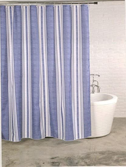 Linenwalas Designer Striped Polyester Shower Curtain Set - 72x78, Marl