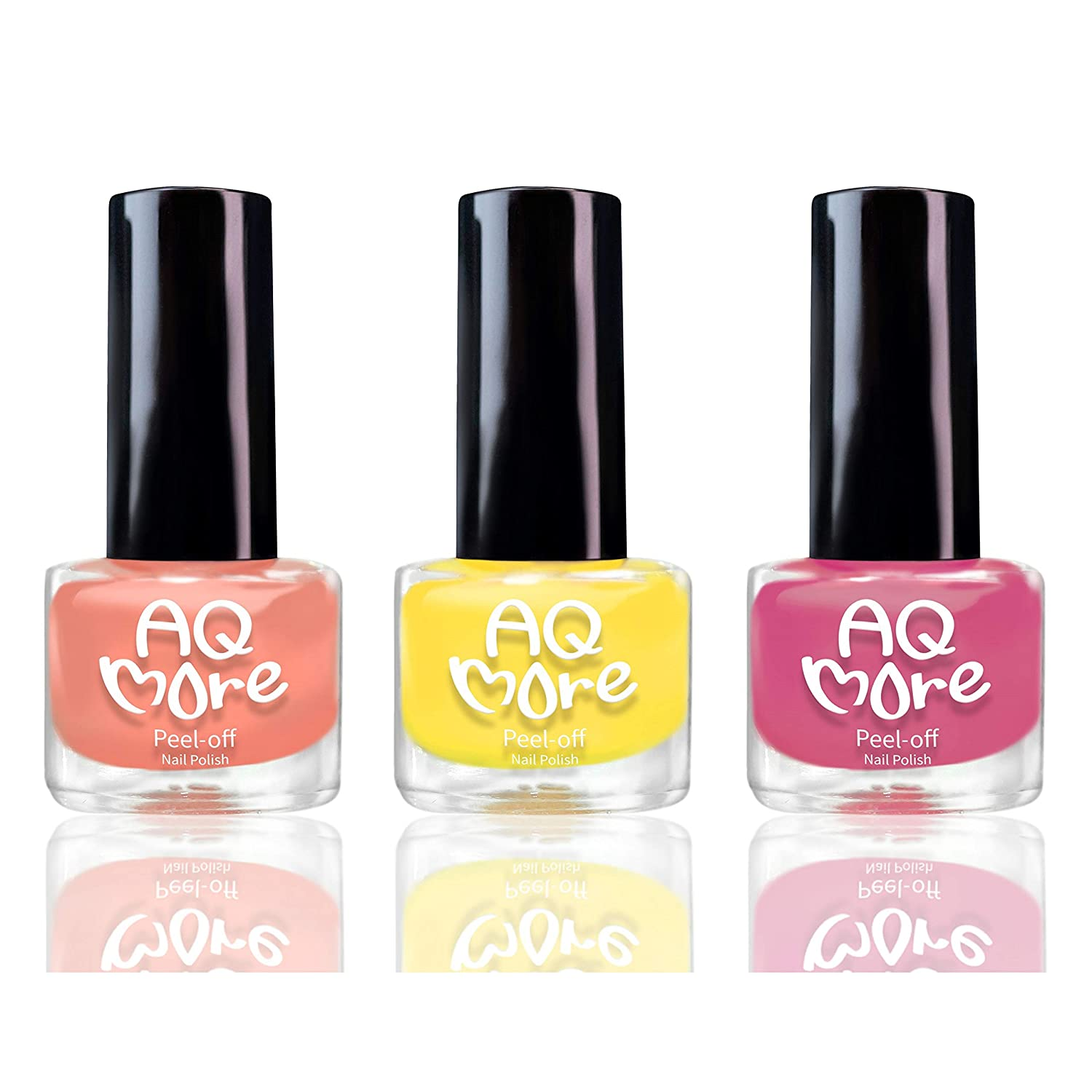 AQMORE Non Toxic Water Based Peel Off Nail Polish – Lasts for Days, GEL Like Shine, Dries in Minutes, Fragrance & Paraben Free, Kid Safe, Great Gift Idea - 3 Colors (0.20 fl oz/Bottle)(Ms Grapefruit)