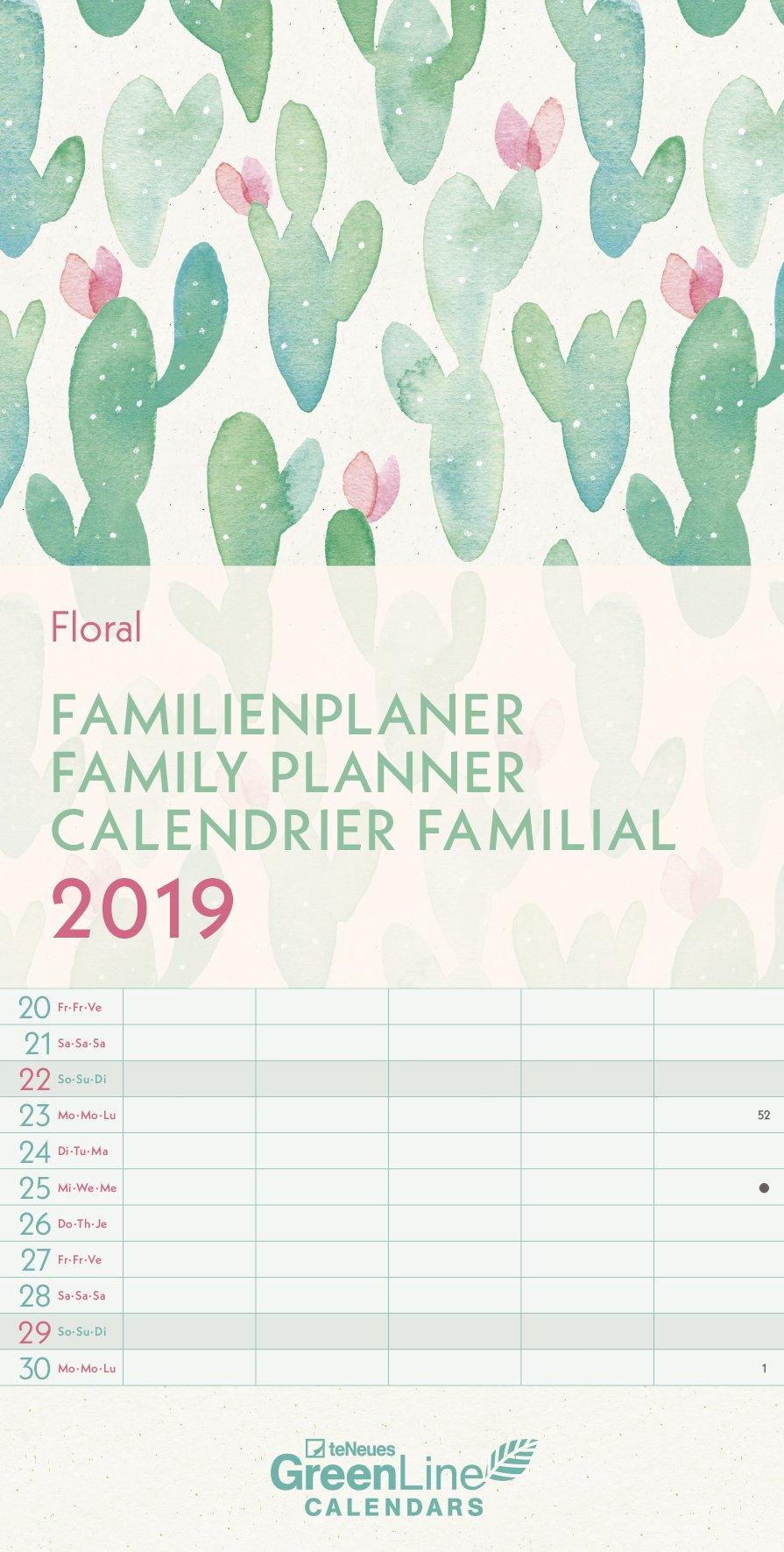 Floral 2019 - GreenLine Familienterminkalender mit 5 Spalten  -  23 x 45,5 cm
