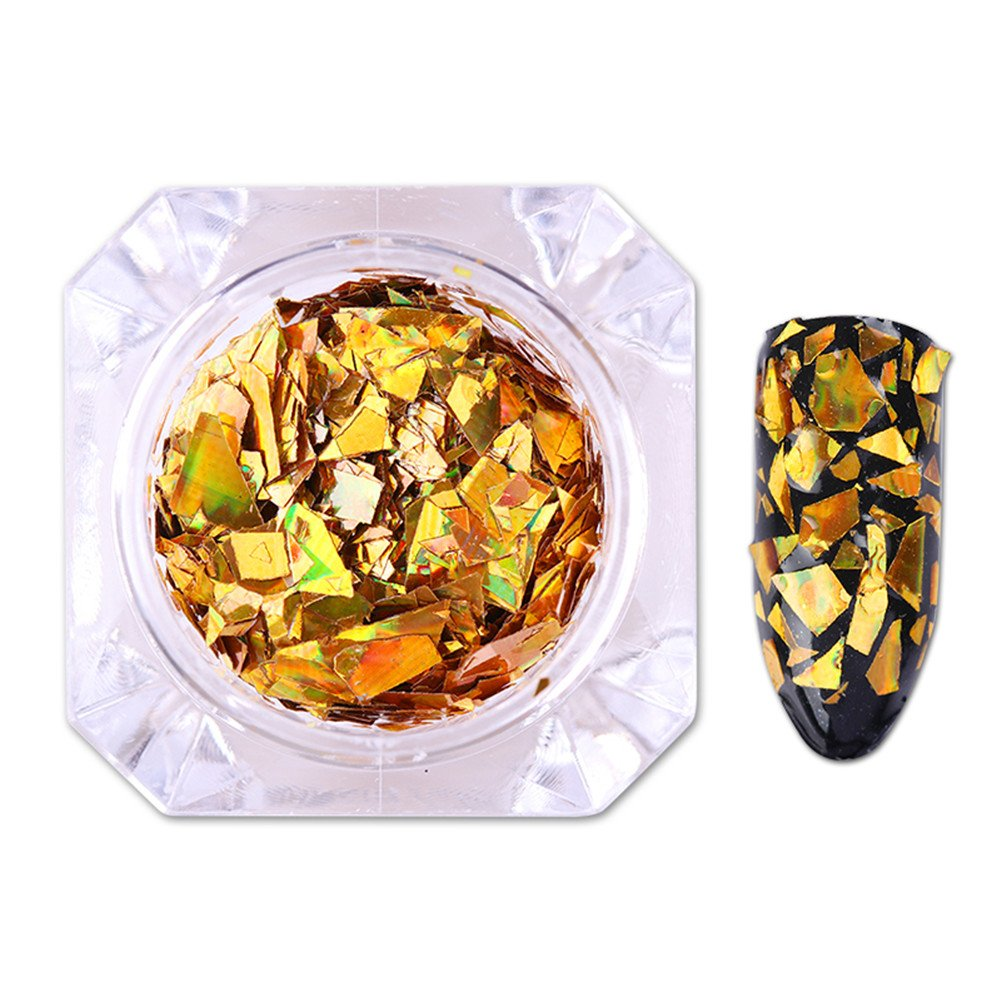 BORN PRETTY Nail Art Holographic Laser Sequins Gold Silver Glitter Shinning Paillette Manicure Flakes Pigment 2 Colors