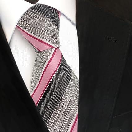 TigerTie diseñador corbata de seda - rosa rojo gris plata ...