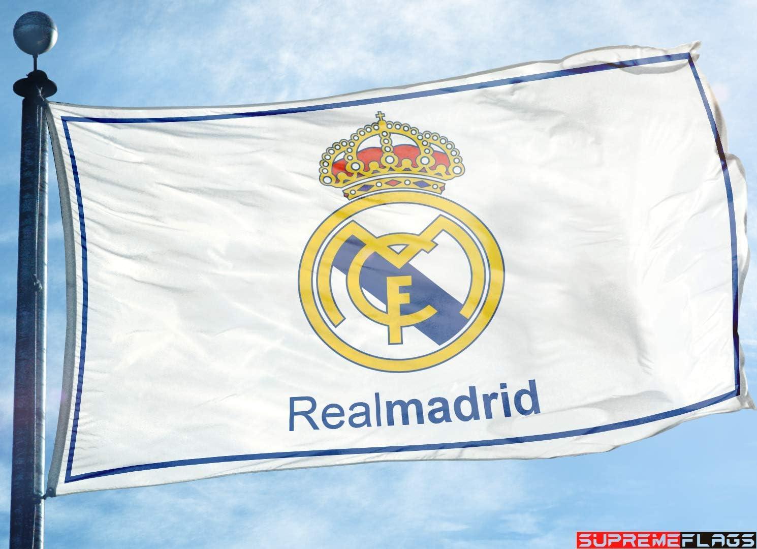 Bandera del Real Madrid 3 x 5 pies Blanco España Futbol Bandera de fútbol Blanco: Amazon.es: Deportes y aire libre