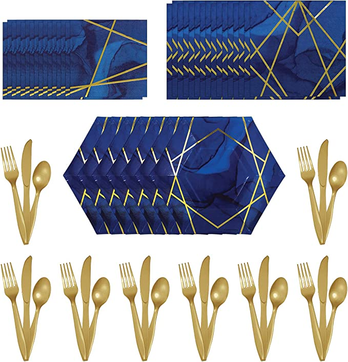 Navy Blue and Gold 70th Geode Party Supplies Tableware Decorations /& Balloons