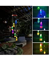 Pathonor Color-Changing LED Solar Mobile Wind Glockenspiel, LED Changing Light Farbe Sechs Wishing Flasche Wind Chimes Für Haus / Party / Nacht Garten Dekoration rot Color-Changing