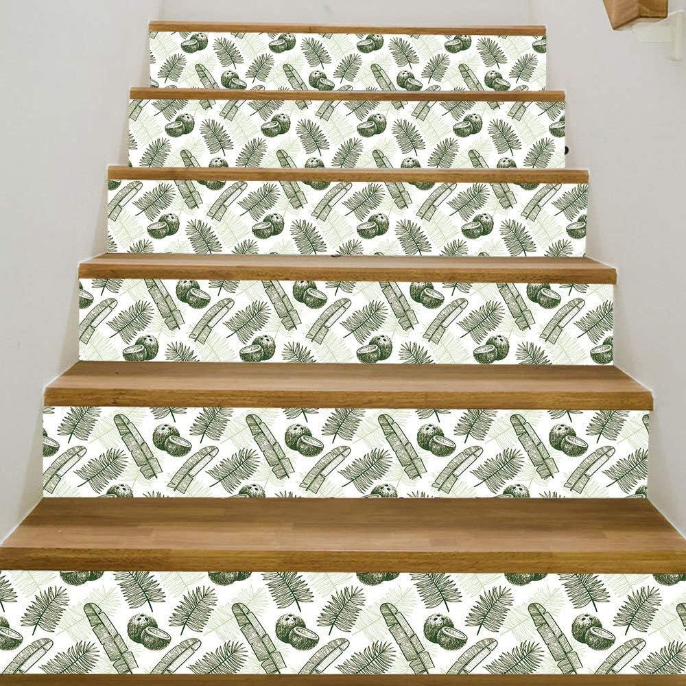Hoja verde Fruta Decoración de la habitación de los niños Escalera Pegatinas Escaleras Escaleras decorativas Decoración 100 * 18cm * 6Pcs: Amazon.es: Bricolaje y herramientas