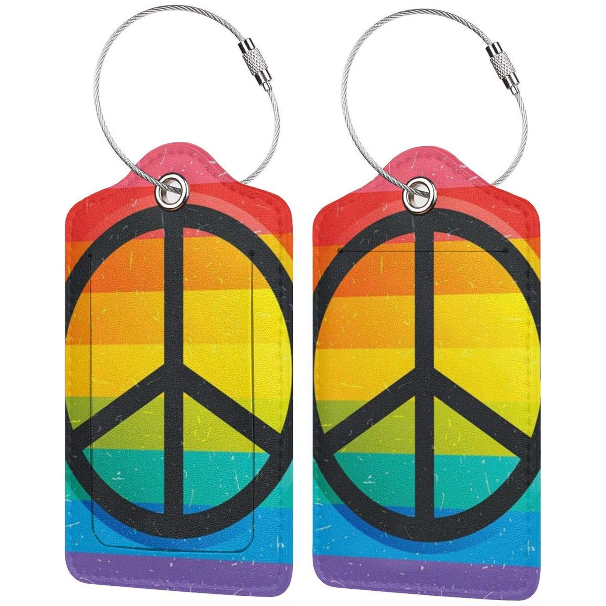 Retro Rainbow Flag Leather Luggage Tags Personalized Travel Accessories With Privacy Flap