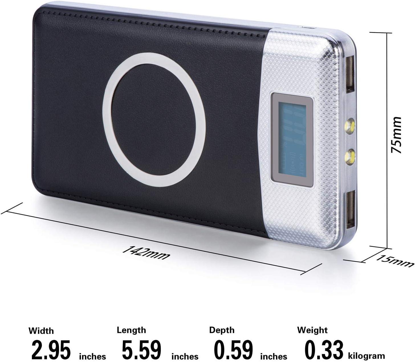 50000mAh Power Bank Qi Wireless Charging 2 USB LCD LED Portable Battery Charger (Black)
