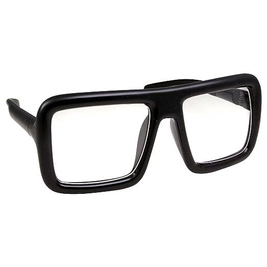 Amazon.com: Thick Square Frame Clear Lens Glasses Eyeglasses Super ...