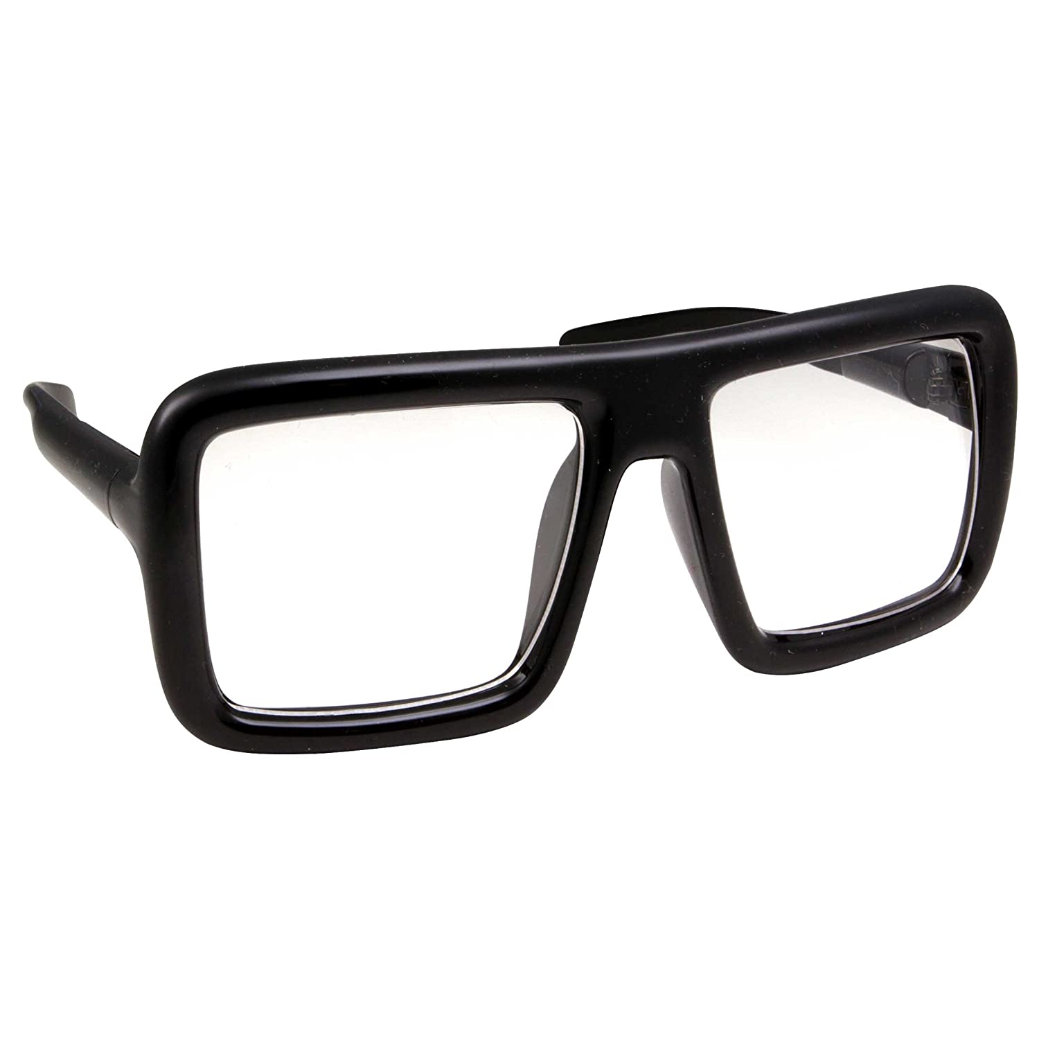 5b430389f9f6 Amazon.com: Thick Square Frame Clear Lens Glasses Eyeglasses Super Oversized  Fashion and Costume - Black: Clothing