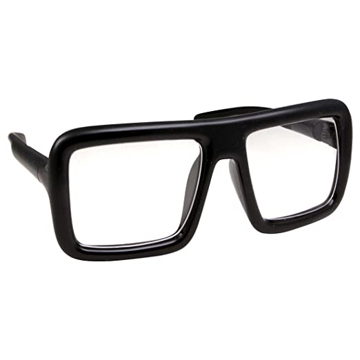 f2a4c07919 Thick Square Frame Clear Lens Glasses Eyeglasses Super Oversized Fashion  and Costume - Black