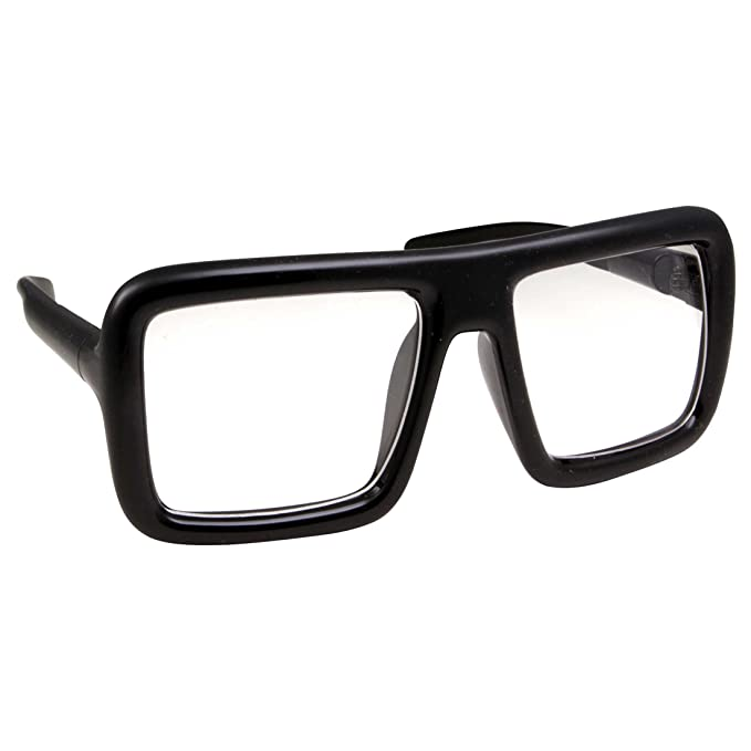 7bcfaa8fcc Thick Square Frame Clear Lens Glasses Eyeglasses Super Oversized Fashion  and Costume - Black