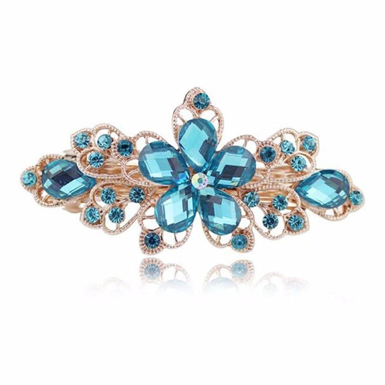 Sankuwen Flower Design Rhinestone Hairpin Clip Accessories (Dark Blue)
