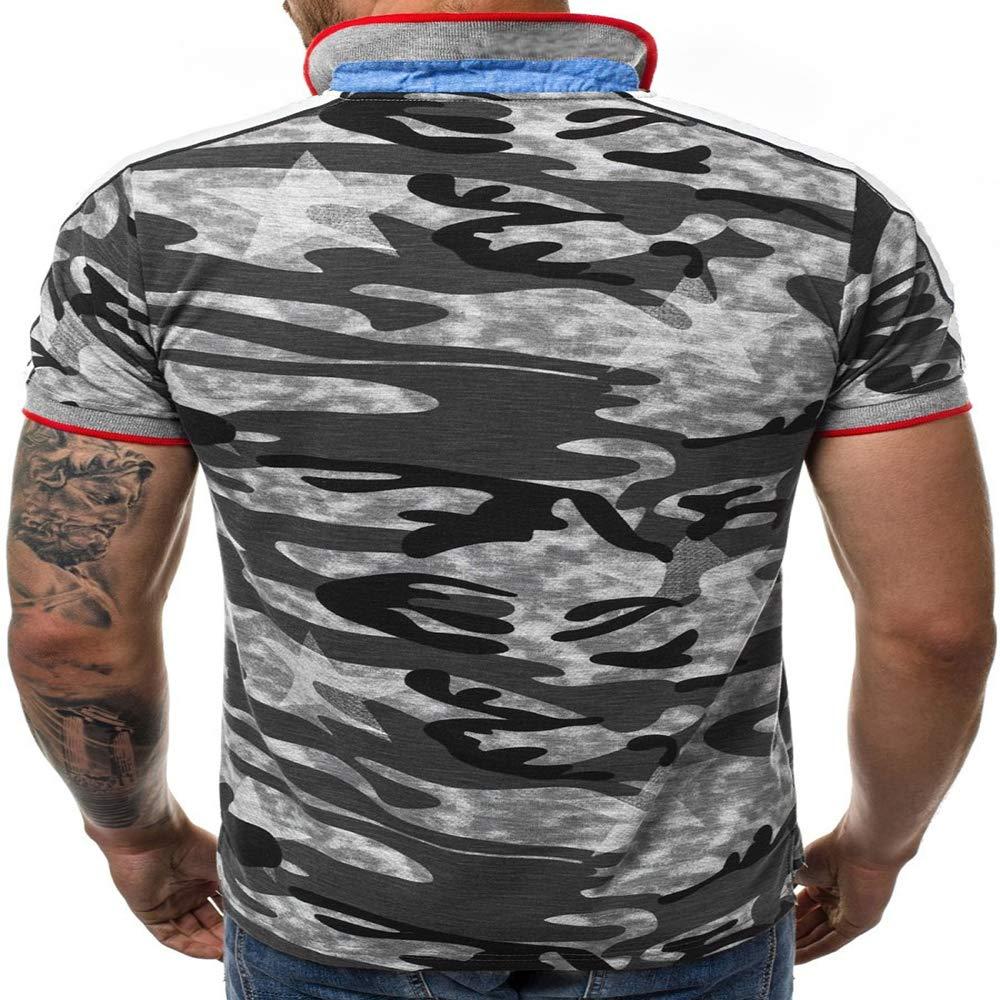 Mens Polo Shirt Lapel T-Shirt Quality Cotton Quick-Drying Print Camouflage Shirt