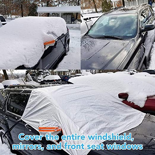 Zhsx Car Cover Winter Waterproof Windscreen Cover Wind And Ice Protection Cover 158 Cm X 249 Cm Standard Car Size Silver Auto