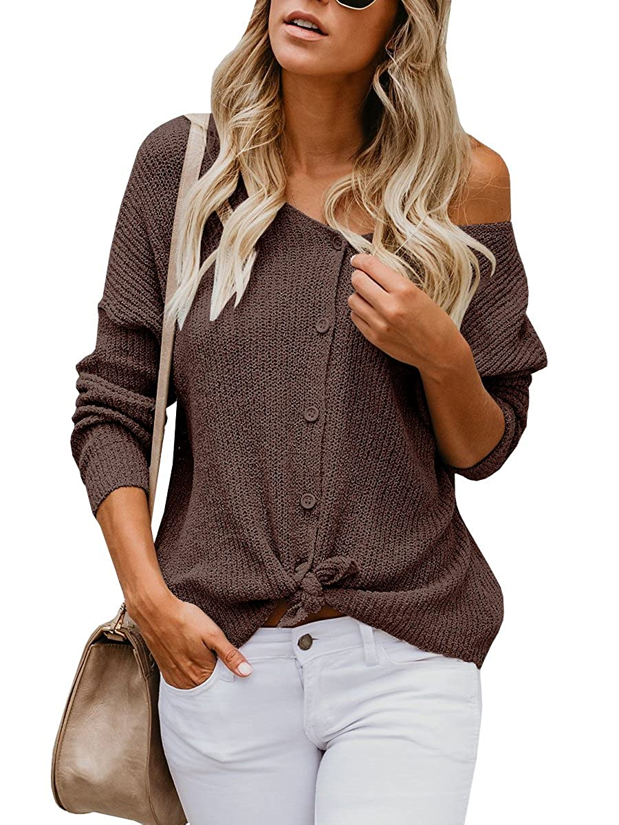 38ea9a58ca9d Womens Sweaters Off The Shoulder Tie Front Button Down Knit Jumper Top Cardigan  Sweater at Amazon Women s Clothing store