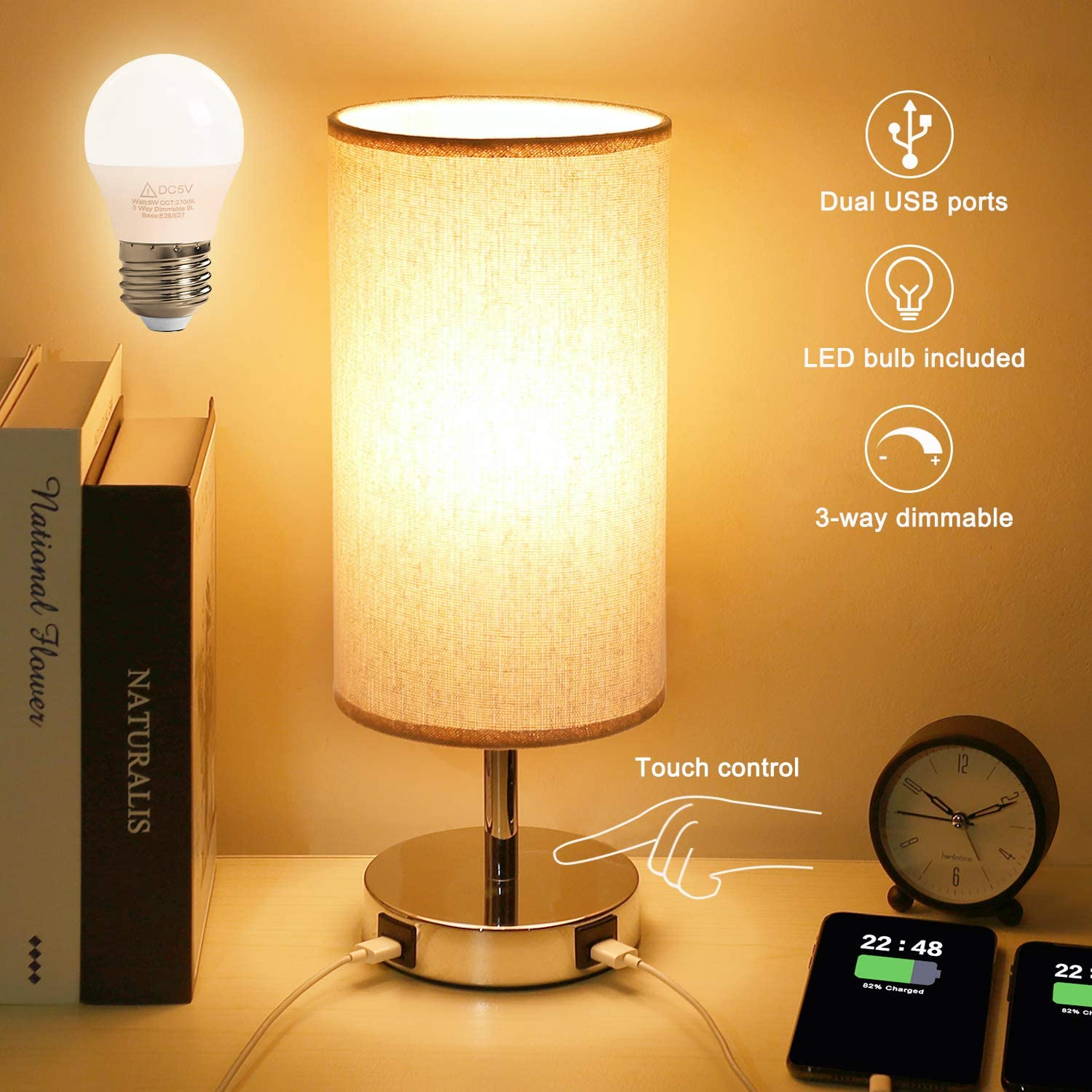 Touch Control Table Lamp, USB Touch Lamps with 2 Fast Charging USB Ports Power Outlet, 3 Way Dimmable Bedside Nightstand Lamp, Modern Desk Light for Bedroom Living Room Home Office(LED Bulb Included)