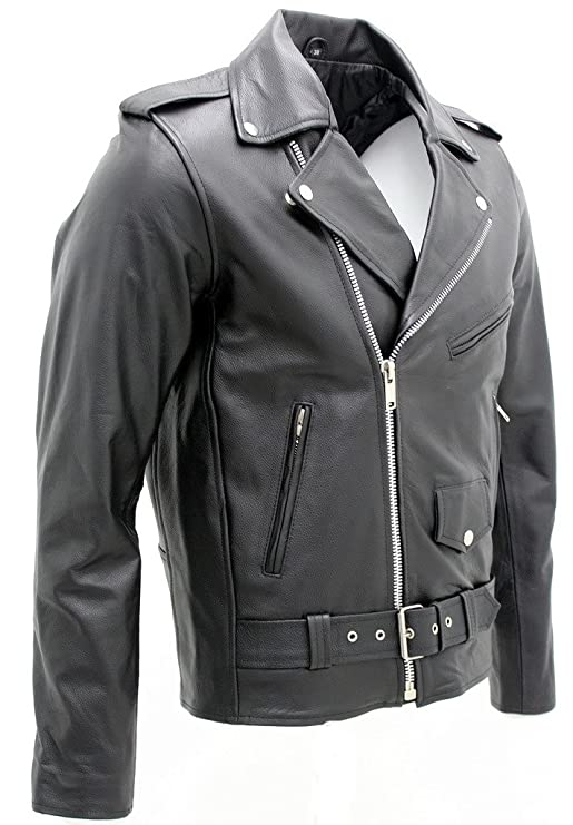 Mens Stylish Brando Casual Black Leather Biker Jacket at Amazon Mens Clothing store: