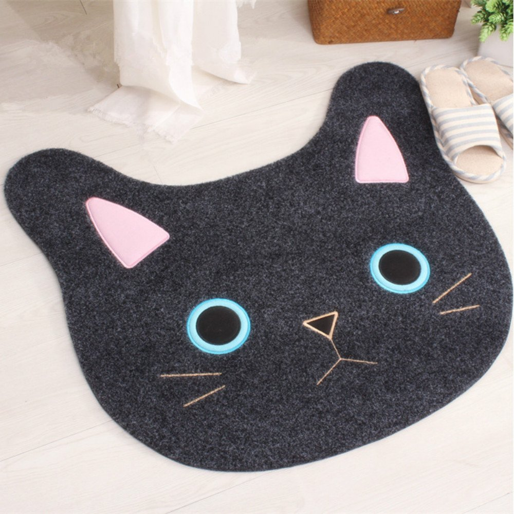 Sytian New & Cute Cat Face Embroidery Cat Shaped Shaggy Area Rug Nonslip Absorbent Lovely Cat Doormat Floor Mat Bathmat Bathroom Shower Rugs Cute Kitchen Mat Carpet (Coffee, 6567cm) Stay Young Shower rug-24