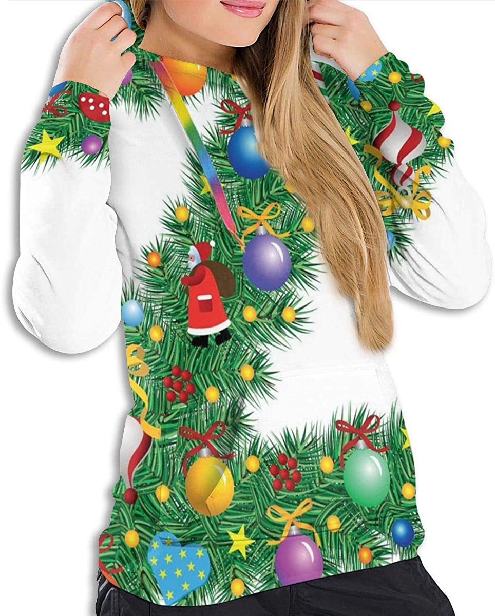 Womens Hoodie,Traditional Themed Font Design Z with Colorful Ornaments Christmas Santa Claus,Lady Sweatshirt