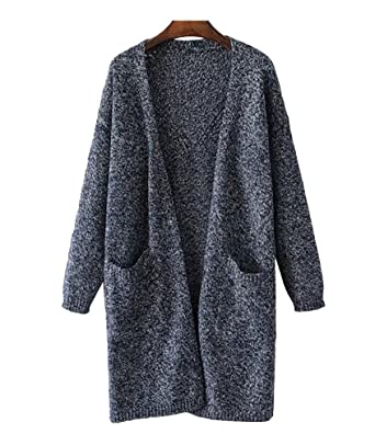 Jitong Cardigan Femme Long en Maille Manches Longues Gilets Hollow Tricot  Chandail Cardigans Bleu Marine Taille 6ec805ea667c