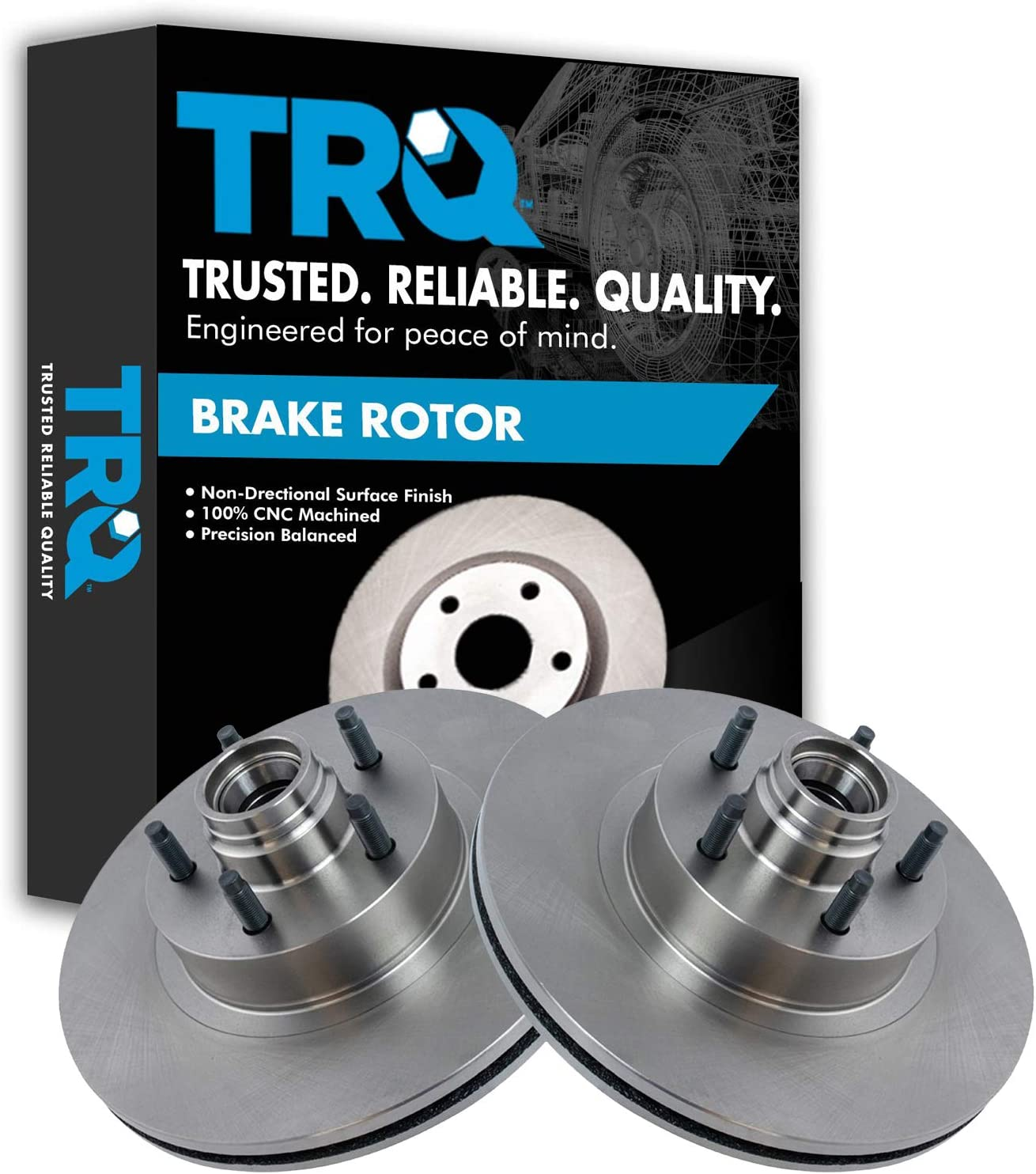 TRQ Front Disc Brake Rotor Pair Set for 2001-2003 Ford Explorer 2001-2005 Ford Explorer Sport Trac//Models with RWD Rear Wheel Drive