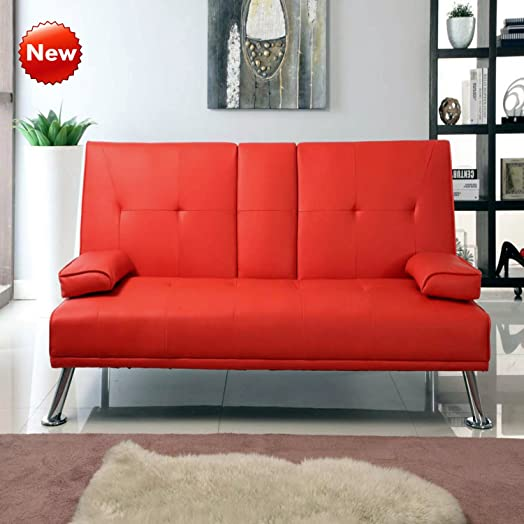 cheap cinema manhattan faux leather sofa bed sofabed with cup holders red