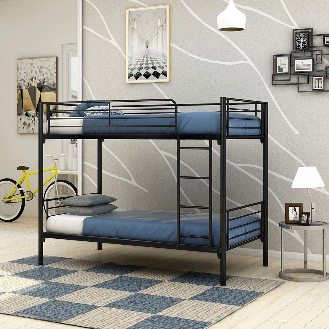 JURMERRY Bunk Bed Metal Frame Twin Over Twin with Slat & Ladder Hevay Duty Steel Bed Frame( Black)