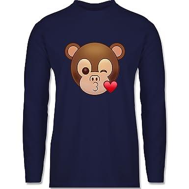 Shirtracer Comic Shirts - Küsschen Äffchen Emoji - S - Navy Blau - BCTU005  - Herren