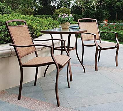 3 PC REGULAR HEIGHT BISTRO TABLE CHAIRS SET ~ SLINGBACK MATERIAL