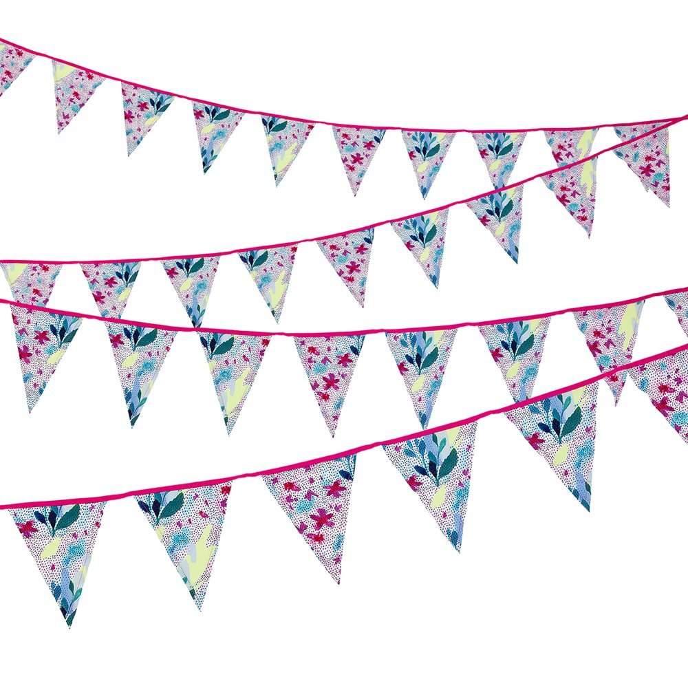 Talking Tables Fabric Bunting 12 Pennants Bunting Party Decorations, 10 Ft., Multicolor