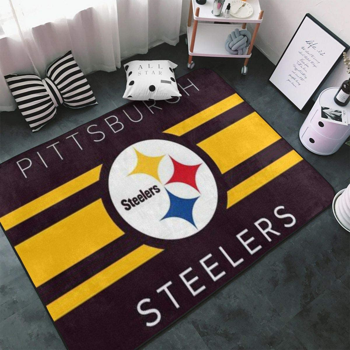 Delean Pittsburgh Steelers Mat Throw Rugs Carpet Indoor Fluffy Area Rugs Home Office Cafe Carpets Suitable