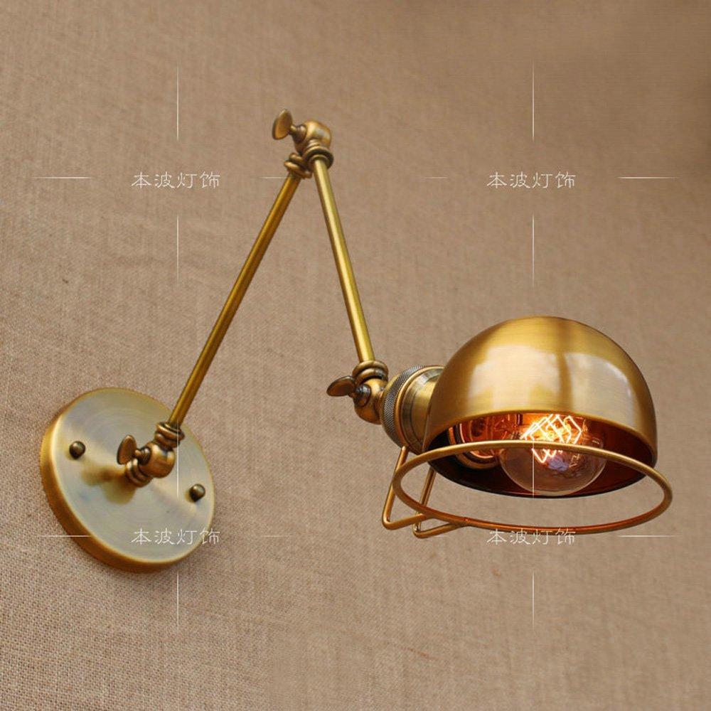 HJZY Lámpara de pared Vintage Ajustable Edison Simplicity Wall Light, Industrial Vintage Wall Lámpara de pared E27 con brazo oscilante para dormitorio (Color : Gold) HJZY-BD