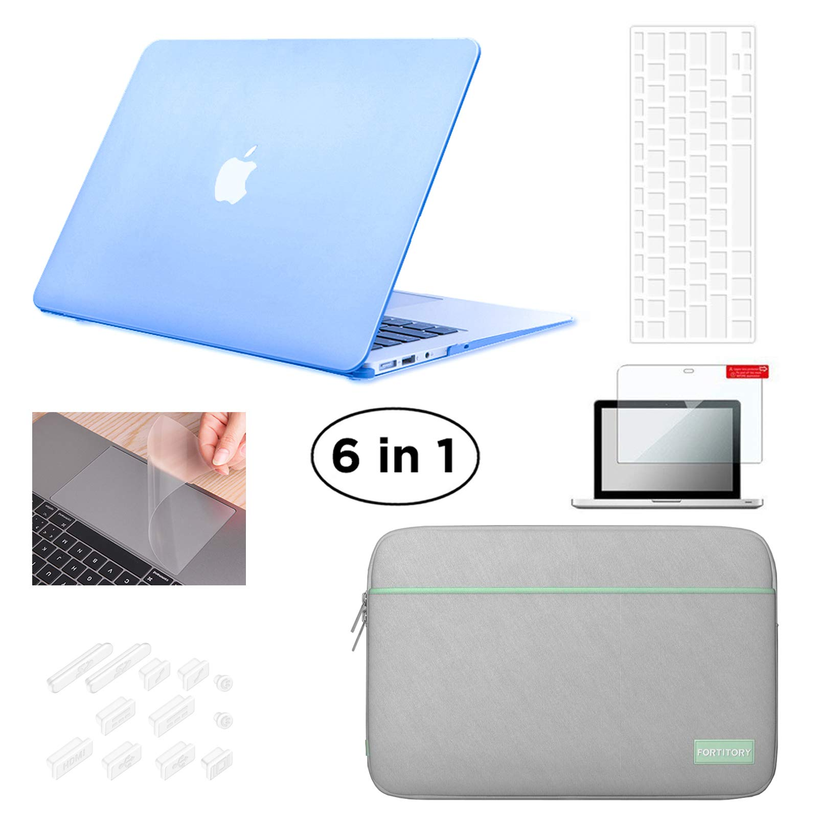 Fortitory MacBook Air 13'' A1369/A1466 Plastic Hardshell Case & Water-resistant Sleeve 6 in 1 Bundle with Screen Protector, Keyboard Skin, Trackpad Protector and Dust Plug - Airy Blue